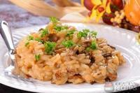 Risoto de cogumelo e fígado de galinha