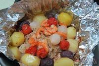 Envelope de bacalhau com camarão