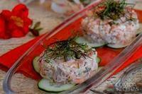 Tartar de salmão com ciboulette refogado