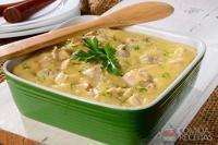 Mingau de milho verde com galinha
