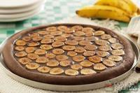 Pizza de banana com chocolate