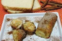 Rolinho de pão com doce de leite e canela