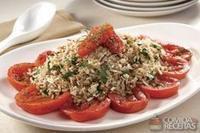 Arroz 7 cereais + soja com agrião e tomate ao forno