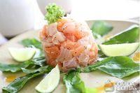 Ceviche de salmão e robalo do kindai