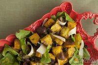 Salada de abóbora assada com vinagrete de cidra