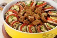 Coxão duro com berinjela e ratatouille de legumes