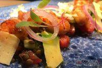 Lentilha com camarão molho grego