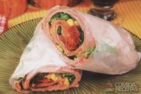 Wrap assado de rúcula com tomate seco