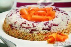 Anel de arroz de carne seca e abóbora