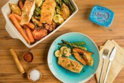 Assado de pescada com legumes
