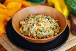 Salada especial de bacalhau com grão de bico