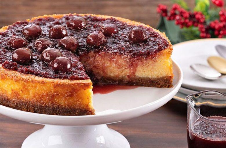 Cheesecake de cereja ao vinho do Porto