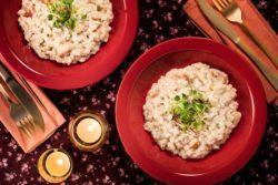 Risoto especial de pera com gorgonzola