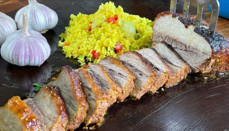 Ponta de peito com arroz Tasmânia